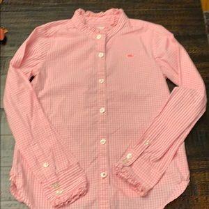 Vineyard Vines pink and white gingham shirt sz 6